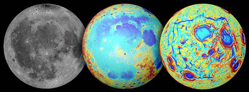 gravity maps of the moon