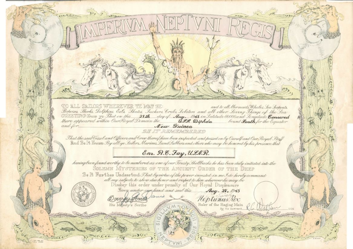 Shellback certificate for crossing the equator, 1945