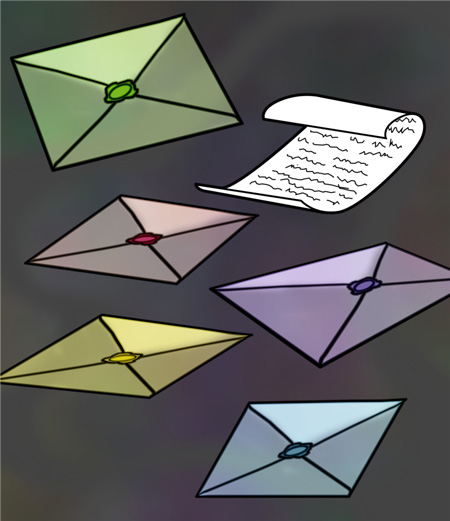 Enceladus's webcomic: page 1, six envelopes.