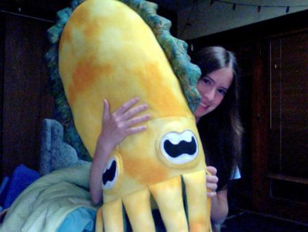 Jadestone hugging her cuttlefish