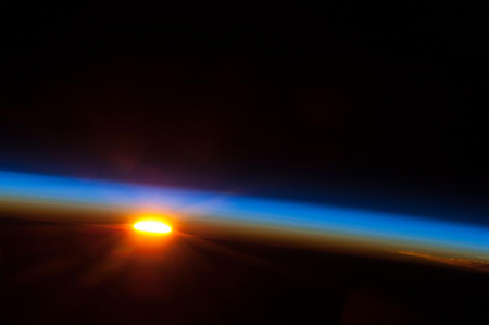 Sunrise photographed from International Space Station