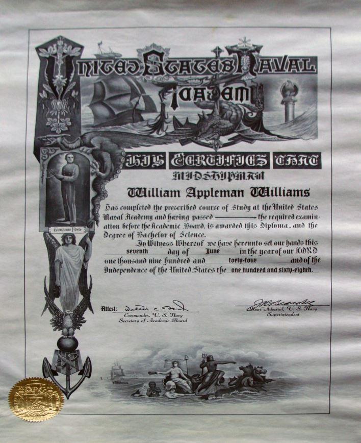 1940s Naval Academy diploma