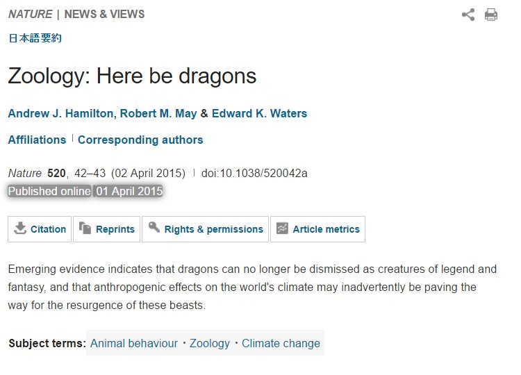Nature paper about effects of climate change on dragons